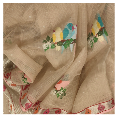 BEIGE COTTON KOTA SAREE