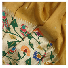 YELLOW MOONGA BANARSI PAITHANI SAREE