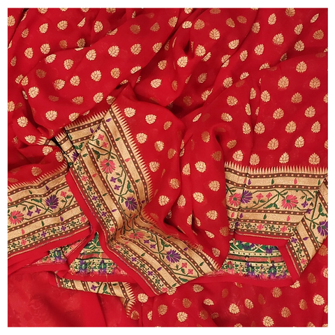 RED GEORGETTE BANARSI SAREE
