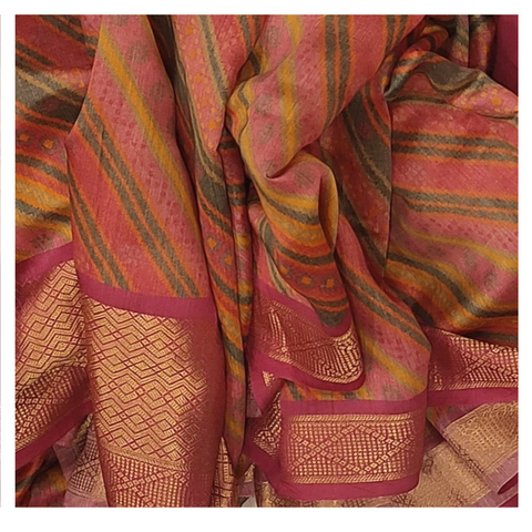 PINK MOONGA PRINTED SAREE