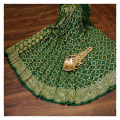 GREEN BANDHANI GEORGETTE SAREE