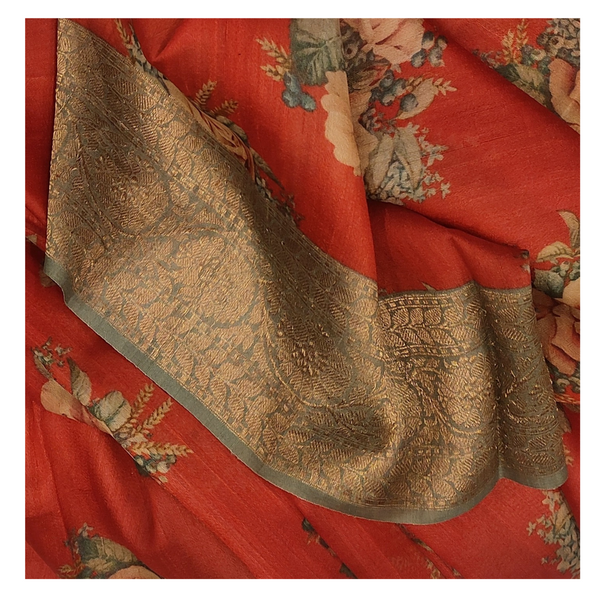 RED TUSSAR SOFT SILK SAREE