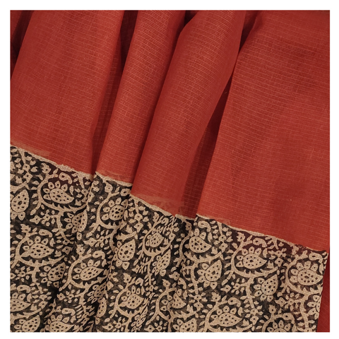 RED COTTON/PRINTED SAREE