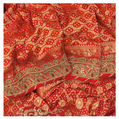RED SILK BANDHANI / DESIGNER / HANDLOOM SAREE