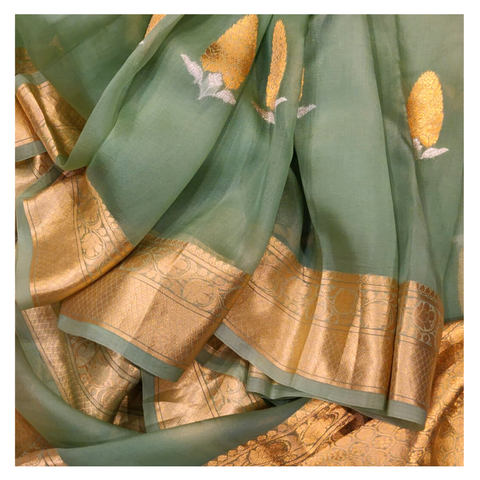 GREEN KORA SILK BANARSI/HANDLOOM SAREE