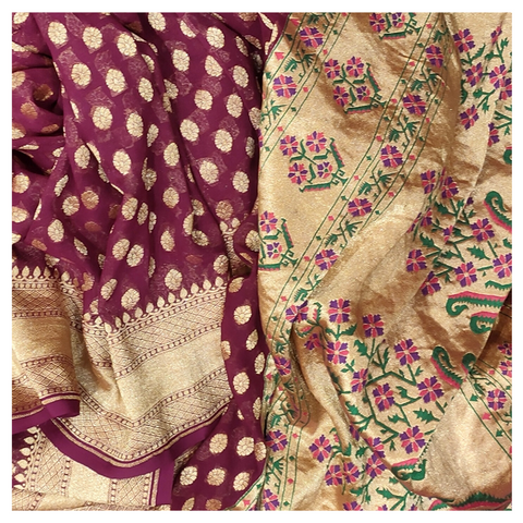 WINE GEORGETTE BANARSI SAREE