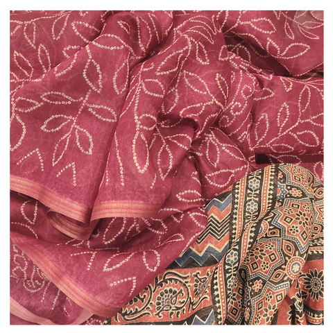RED COTTON / BANDHANI SAREE