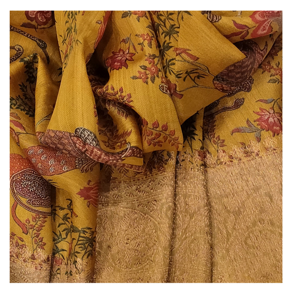 YELLOW TUSSAR SOFT SILKS SAREE
