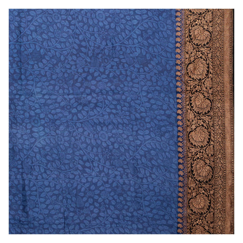 BLUE KALAMKARI SILK SAREE
