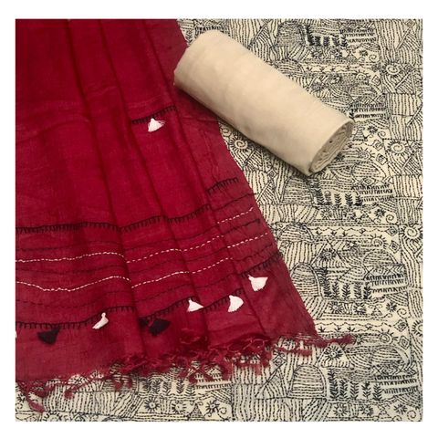 BEIGE TUSSAR SILK KANTHA DRESS MATERIAL