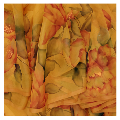 YELLOW ORGANZA PRINTED COTTON SAREE