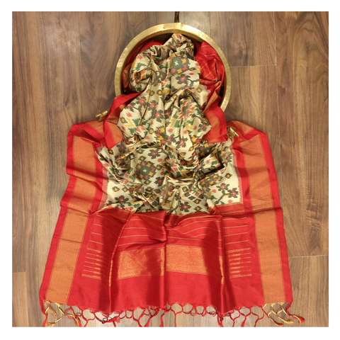 CREAM SILK DUPATTA / STOLES