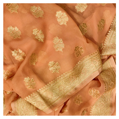 PEACH GEORGETTE BANARSI SAREE