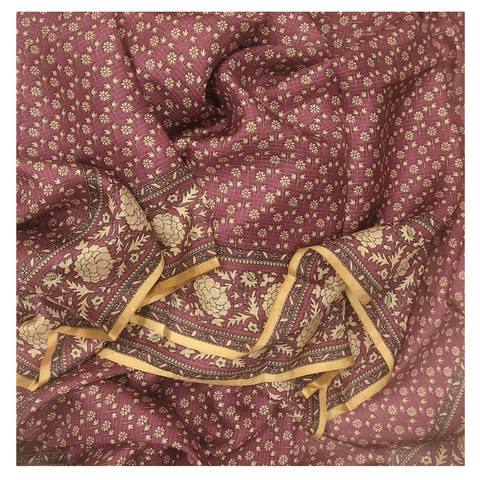 WINE SILK PRINTED / COTTON SAREE