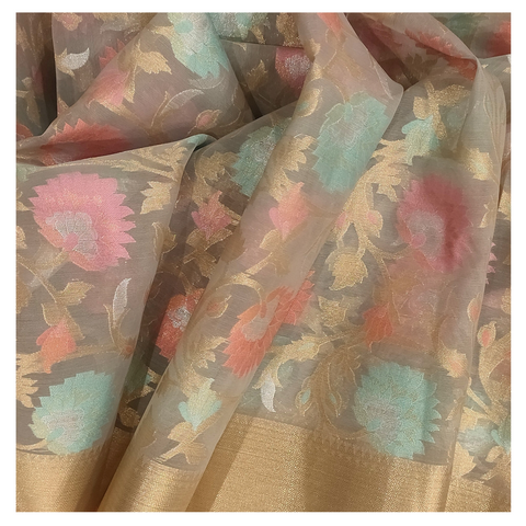 CREAM COTTON / BANARSI SAREE