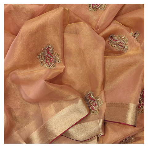 PEACH TISSUE DESIGNER SAREE