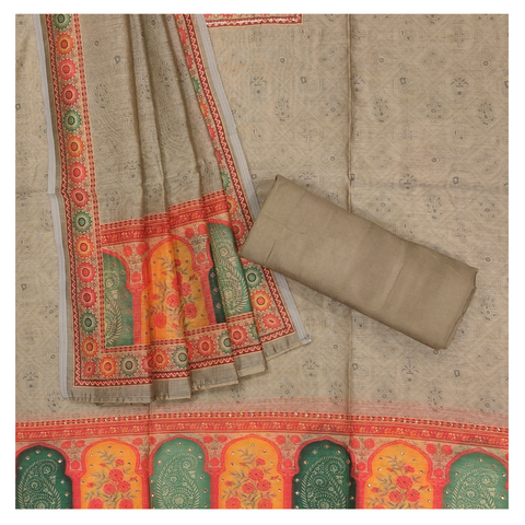 GREY COTTON CHANDERI DRESS MATERIALS SUIT