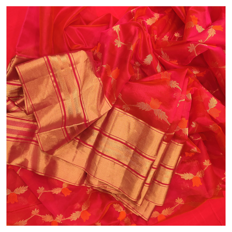 RED KORA SILK CHANDERI/HANDLOOM SAREE