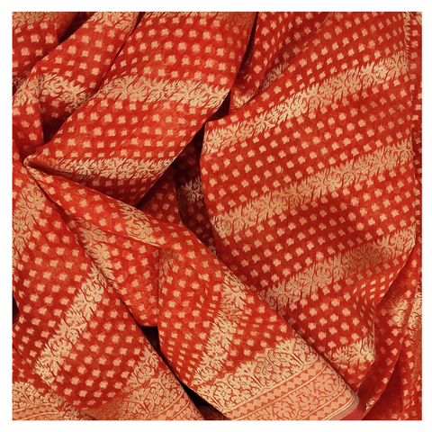 RED COTTON BANARASI / HANDLOOM / SAREE