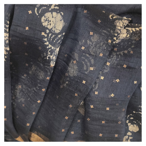 BLUE LINEN DESIGNER/PRINTED SAREE