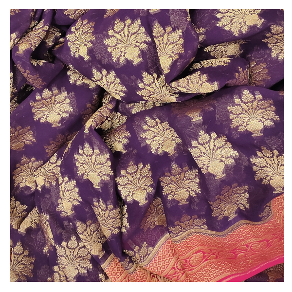 PURPLE GEORGETTE BANARASI SAREE