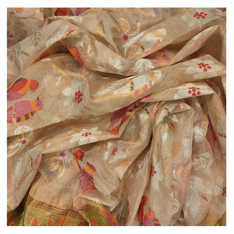 CREAM COTTON SILK KOTA/ PAITHANI SAREE