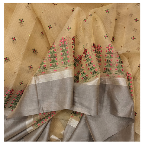 GOLD KOTA TISSUE COTTON/DESIGNER SAREE