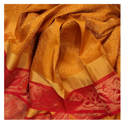 YELLOW SILK UPADDA / SOFT SILK/ KANJEEVARAM SAREE