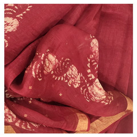 RED LINEN DESIGNER/PRINTED SAREE