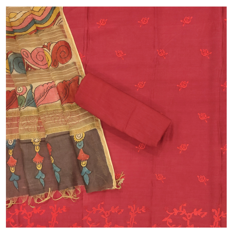 RED COTTON DRESS MATERIALS SUIT