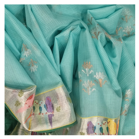BLUE COTTON KOTA SAREE
