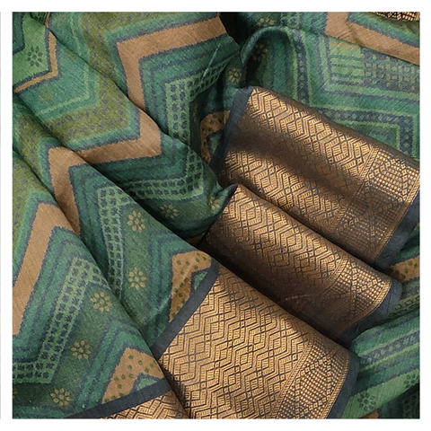 BLUE MOONGA PRINTED SAREE