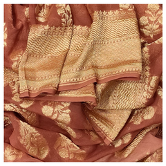 ONION PINK GEORGETTE BANARSI SAREE