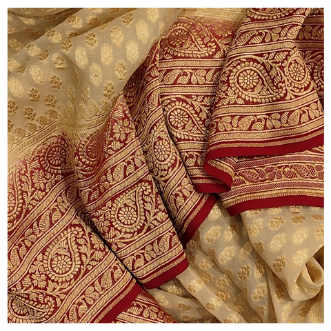 CREAM GEORGETTE BANARSI SAREE