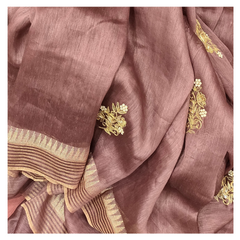 WINE LINEN DESIGNER SAREE,