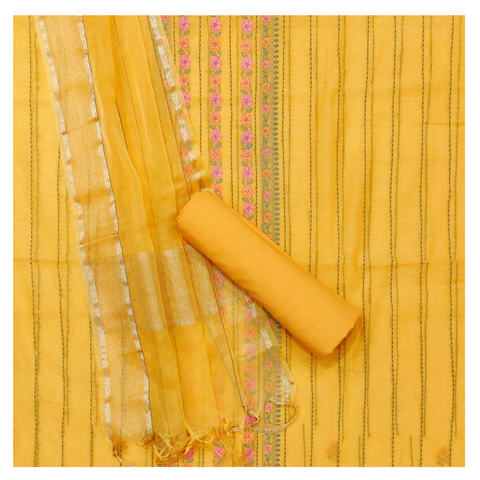 YELLOW CHANDERI COTTON DRESS MATERIAL SUIT