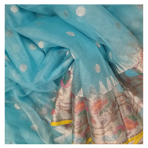 BLUE COTTON SILK KOTA / PAITHANI SAREE