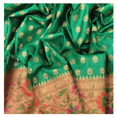 GREEN SILK BANARASI/HANDLOOM SAREE,