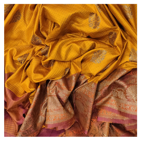 YELLOW SILK BANARASI/HANDLOOM SAREE