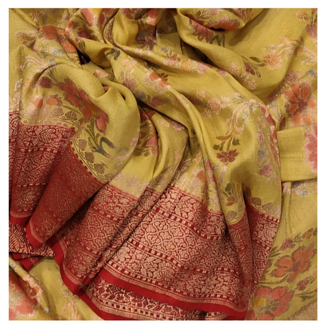 YELLOW BANARSI TUSSAR  SAREE