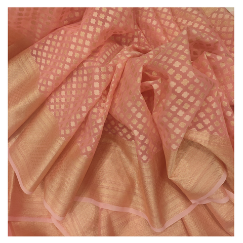 PINK COTTON HANDLOOM/BANARASI SAREE