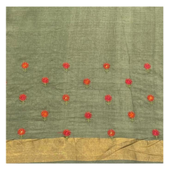 GREEN TUSSAR EMBROIDERED SAREE