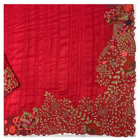RED TUSSAR EMBROIDERED SAREE