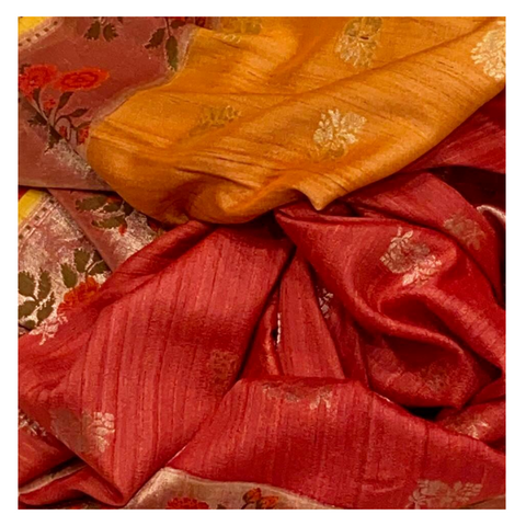 RED AND YELLOW MUNGA TUSSAR BANARASI SAREE