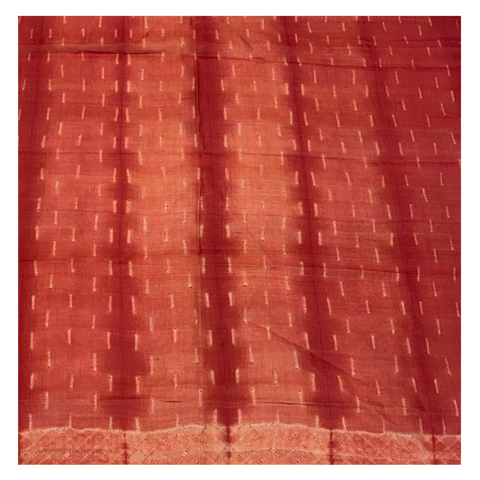 RED SHIBORI TUSSAR SILK DRESS MATERIAL
