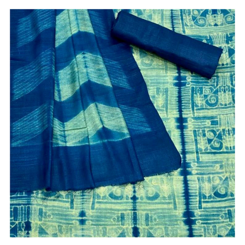 BLUE SHIBORI TUSSAR SILK DRESS MATERIAL,