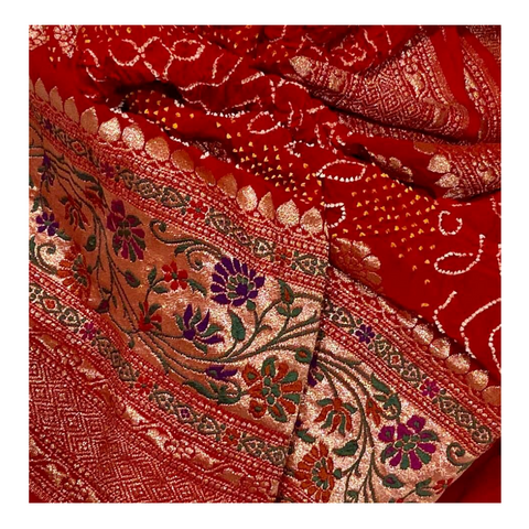 RED TRADITIONAL BANDHANI SAREE,