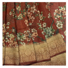 RED PRINTED TUSSAR SAREE,