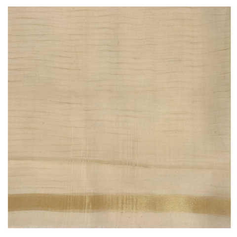 CREAM KORA SILK HANDLOOM / SOFT SILK SAREE