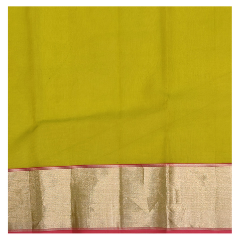 GREEN KORA SILK CHANDERI/HANDLOOM SAREE